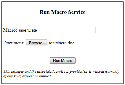A node js service for running Word Macros remotely