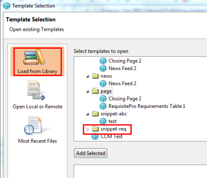 Templates and Snippets form 2.1 web services